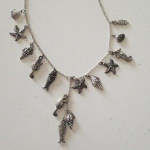 ocean fish and shell necklace